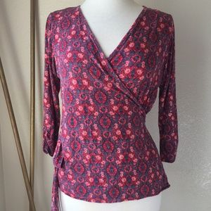 Lucky Brand Wrap Shirt Pink Blue Ruched Sleeve L